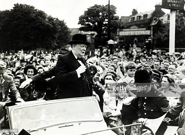 Politics, Personalities, pic: 6th July 1945, Prime Minister Winston Churchill on a general election tour at his constituency at Woodford, Essex, as...
