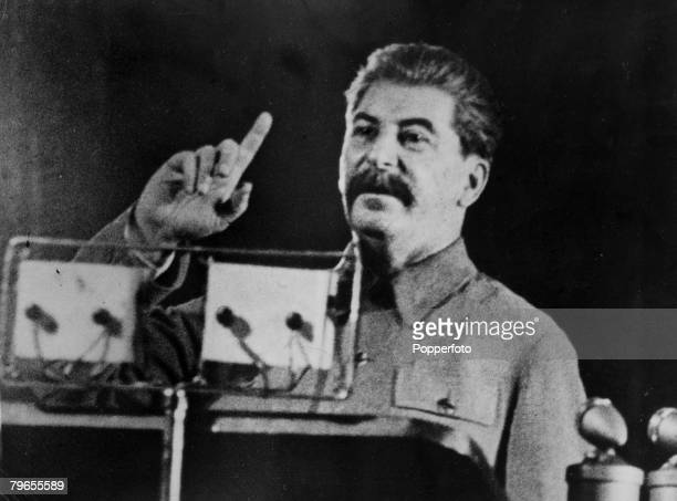 circa 1945 Joseph Stalin Soviet revolutionary and leader who was leader of Russia during World War II pictured making his point during a speech
