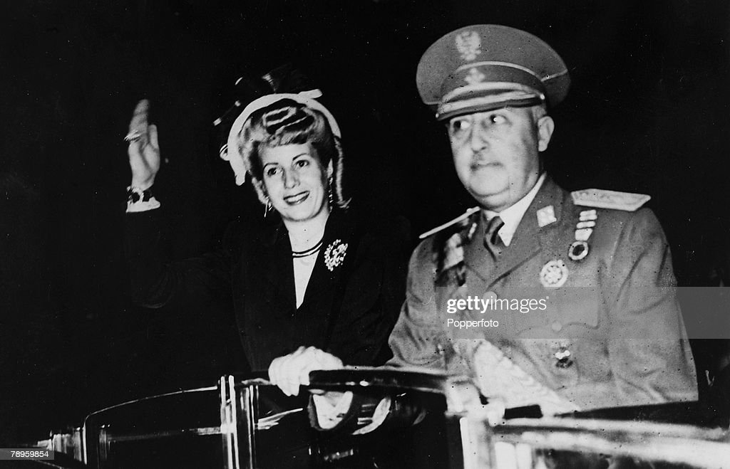 circa 1947, Madrid, Spain, Eva Peron, 1919-1952, the wife of the Argentine President, left, alongside Spain's General Franco during her trip through Europe