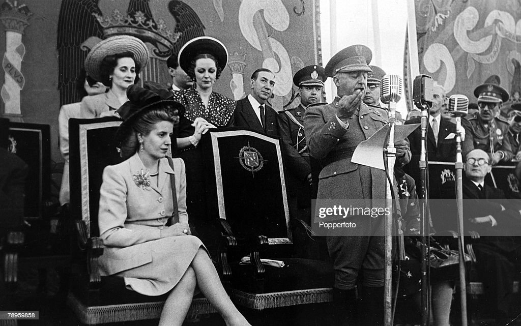 circa 1947, Madrid, Spain, Eva Peron, 1919-1952, the wife of the Argentine President, listens as Spain's General Franco gives a welcoming speech
