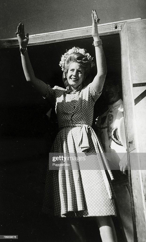 circa 1947, Madrid, Spain, Eva Peron, 1919-1952, the wife of the Argentine President, arrives in Spain while on her European tour