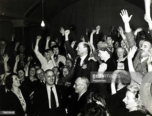 July 1945 Labour leader Clement Atlee with his wife at Transport House where celebrations are taking place as Labour win the General Election