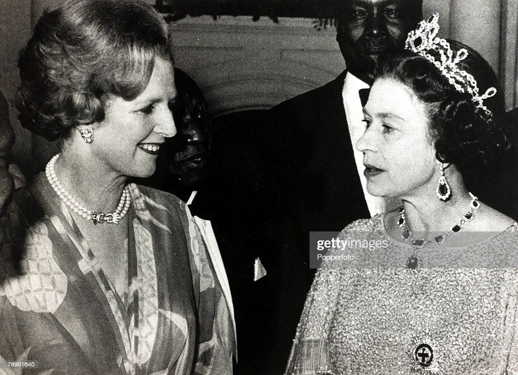 Politics. Personalities. pic: July 1979. Lusaka. British Prime Minister and Conservative leader Margaret Thatcher pictured with HM. Queen Elizabeth II. : News Photo