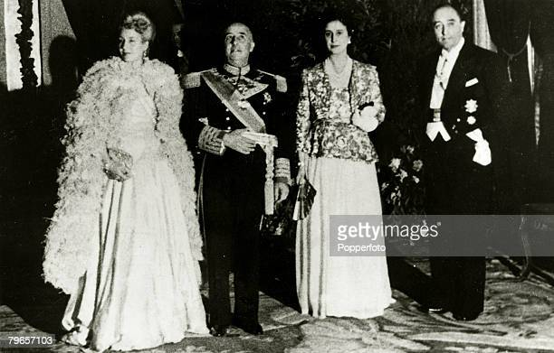 June 1947 City Hall Madrid Spain Eva Peron 19191952 the wife of the Argentine President left alongside Spain's General Franco at a gala party