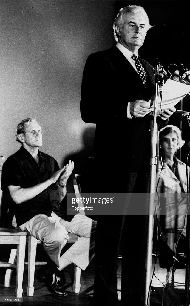 November 1975, Sydney, Australian Labour Party leader Gough Whitlam speaking at an election rally