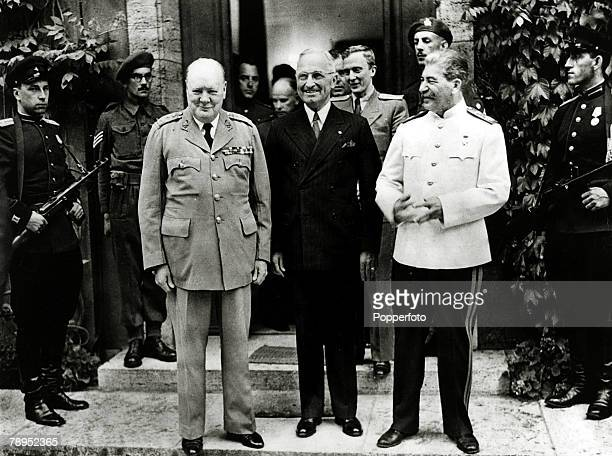 1945 President Harry S Truman centre pictured with Winston Churchill and Josef Stalin at the Potsdam Conference Harry STruman became the 33rd...