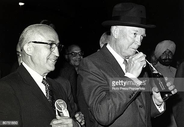 1959 President Dwight D Eisenhower enjoying a coca cola while toring an American exhibition in New Delhi India Dwight DEisenhower became the 34th...