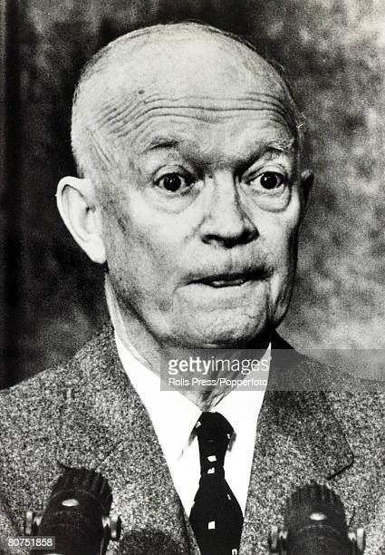 Politics, Personalities, USA, pic: 1960, President Dwight D, Eisenhower at a Washington news conference, Dwight D,Eisenhower became the 34th...