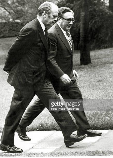 April 1975 Washington DC President Gerald Ford pictured with Secretary of State Henry Kissinger in the grounds of the White House Gerald Ford became...