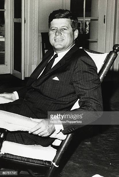 May 1962 Washington DC President John F Kennedy sitting in his rocking chair at the White House John F Kennedy became the 35th President of the...