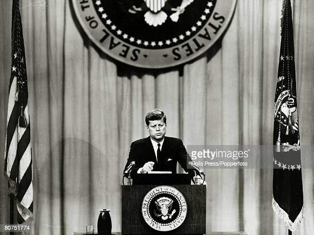 October 1961 Washington DC President John F Kennedy at a press conference at the State Department John F Kennedy became the 35th President of the...