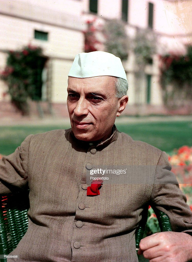 Politics. pic: 1950. A portrait of Jawaharlal Nehru, the Prime Minister of India, a nationalistic politician who was Prime Minister from 1947. He was the father of Indira Gandhi and finished his education at Cambridge University. : News Photo