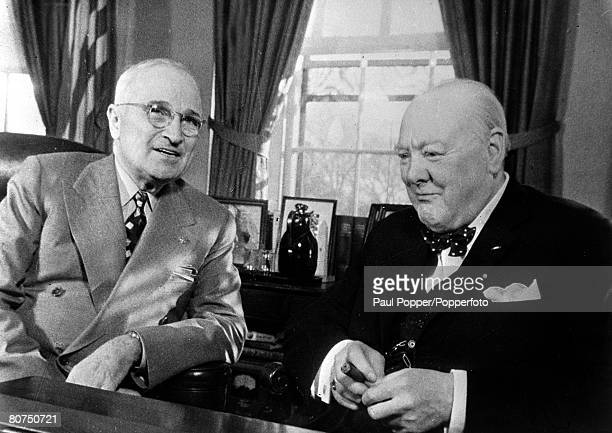 November 1953 USA British Prime Minister Winston Churchill with USPresident Harry Truman in the White House Washington in a last conference before...