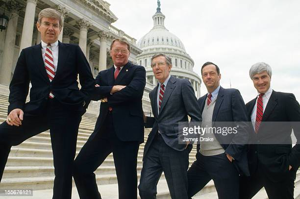 Portrait of congressmen Jack Kemp Jim Bunning Morris Udall Bill Bradley and Tom McMillen posing on the steps of the US Supreme Court Building Kemp a...