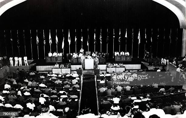 Politics President Sukarno of Indonesia adressing the opening session of the Bandung conference 1955