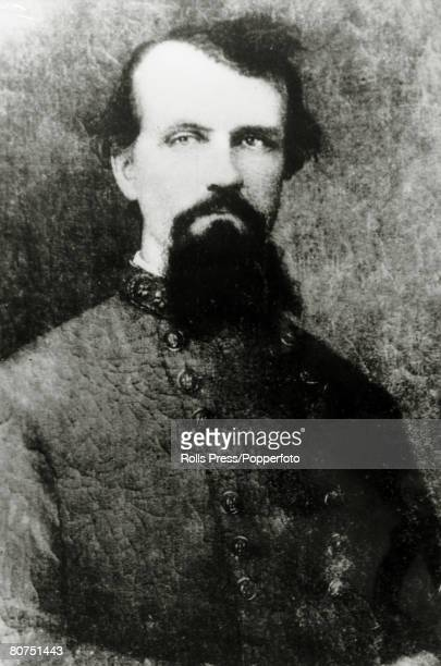 circa 1860's United States General Nathan Forrest former Confederate soldier slave trader and plantation owner who became Grand Wizard of the Ku Klux...