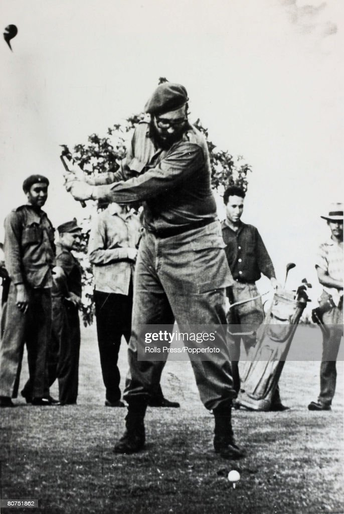 Politics / Revolution Personalities. pic: circa 1961. Cuban leader Fidel Castro pictured playing golf. Fidel Castro, born 1926/27, Cuban revolutionary and political leader, came to power in 1959 after an armed guerilla struggle and has run Cuba on Commun : News Photo