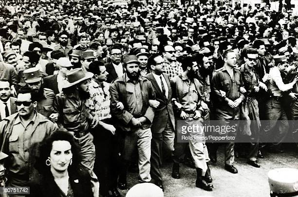 Politics / Revolution Personalities pic March 1960 Cuban leader Fidel Castro leads the funeral procession mourning the death of people killed when...