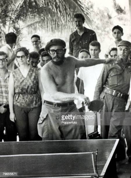 Politics / Revolution, Personalities, pic: October 1963, Cuban leader Fidel Castro pictured bare chested playing table tennis, Fidel Castro, born...