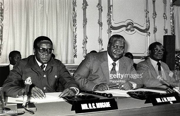 10th September 1979 Robert Mugabe left and Joshua Nkomo centre at the Rhodesia Constitutional Congress meeting in London