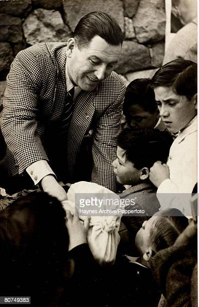 Politics South America Argentine President Juan Peron at a children's street party in Buenos Aires Argentina 1950