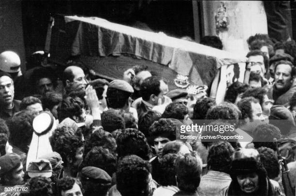 January 1979 Beirut Lebanon Mourners throng the casket of Fatah security chief Abu Hassan Salameh who was killed in an attack on his vehicle from...