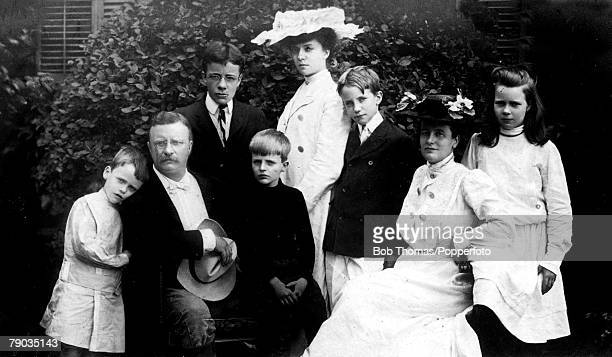 Politics Theodore Roosevelt the 26th President of the United States pictured here with his family circa 1900's