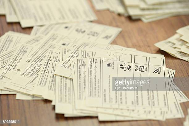 Politics UK Election Close up of ballot papers during the count in Tunbridge Wells Kent England
