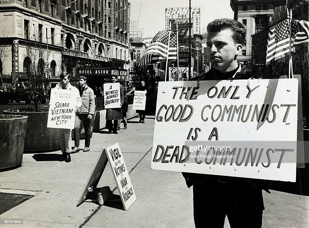 17th April 1965, New York, A, anti-communist picket with a ...