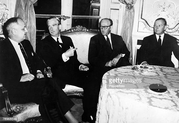 September 1956 Paris France Pictured discussing the state of affairs in the Middle East at the time of the Suez Crisis are leftright Christian Pineau...