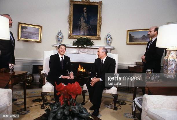 Washington Summit United States President Ronald Reagan and General Secretary of the Communist Party of the Soviet Union Mikhail Gorbachev seated...