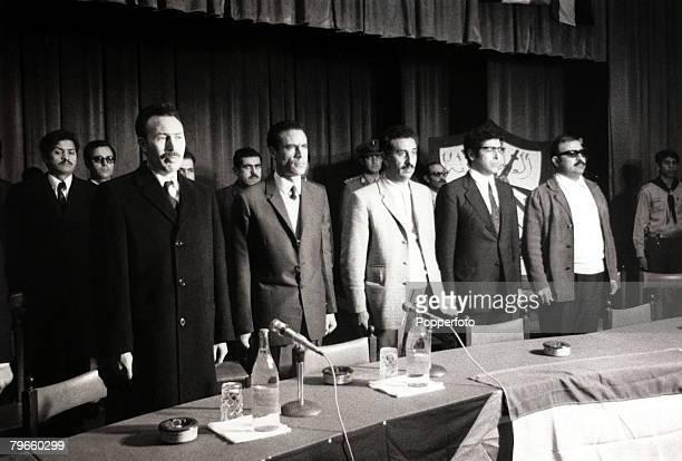 Politics/Middle East Tripoli Libya 29th October 1970 Al Fattah leaders pictured together LR President Houari Boumedienne Moammer Gaddafi Abu Youssef...