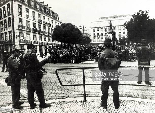 26th April 1974 Lisbon Military troops continues to patrol the city following the coup General Antonio Spinola and five other high ranking officers...