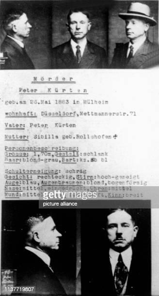 Polizeifotos des Düsseldorfer Massenmörders Peter Kürten Am 22 April 1931 wurde er wegen Mordes in neun Fällen und weiteren Delikten vom Düsseldorfer...