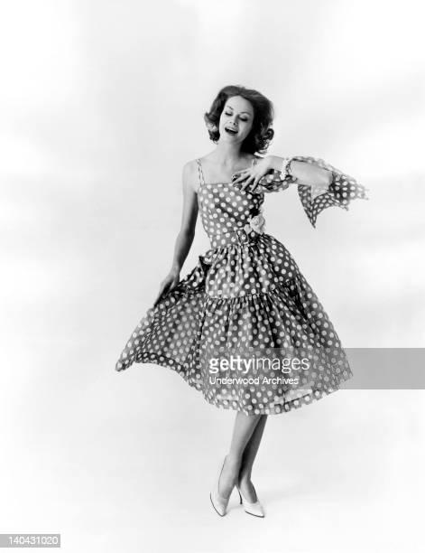 A polka dot cotton voile dance dress by Ellen Kaye of St Louis United States circa 1960