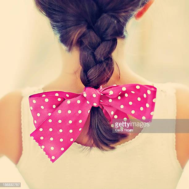 polka dot tie - hair bow stock pictures, royalty-free photos & images