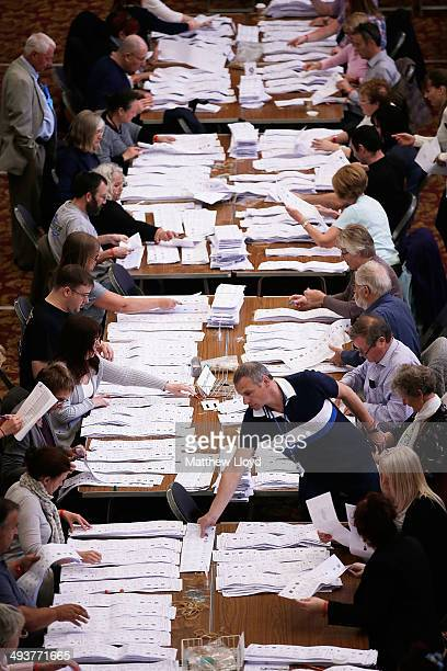 Poll Clerks start the counting of European Parliamentary election ballot papers on May 25 2014 in Southampton England Ukip led by Nigel Farage is...