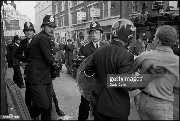 A Poll Tax demonstration in the West End of London UK 31st March 1990
