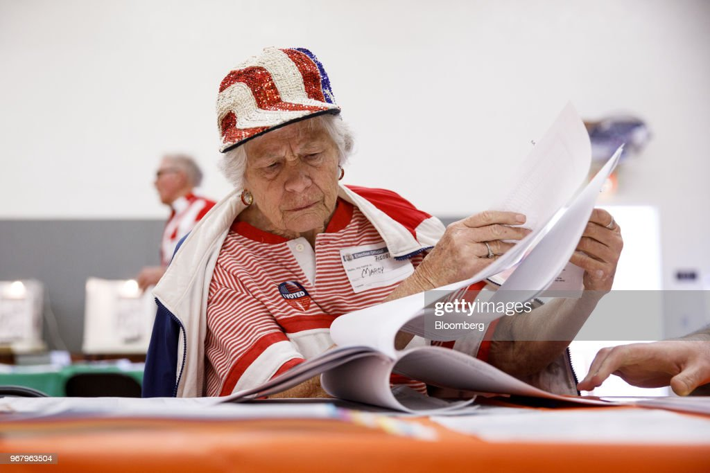 Voters Cast Ballots In The California Primary Election : News Photo