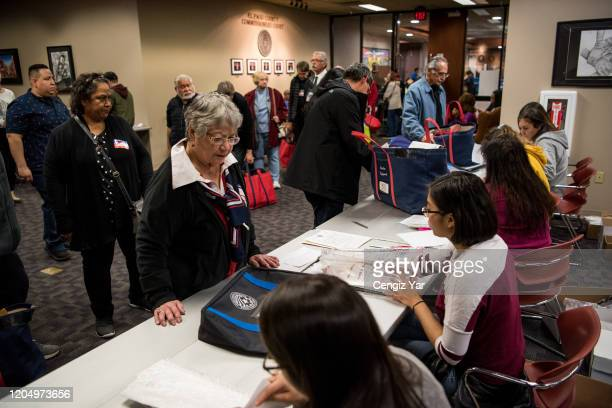 Poll workers turn in election material at the El Paso County Court House on March 3 2020 in El Paso Texas 1357 Democratic delegates are at stake as...