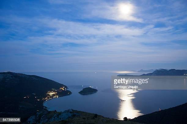 Pollenca Bay illuminated by moonlight