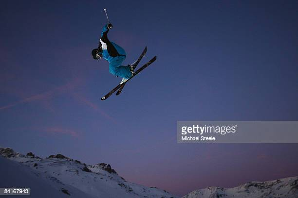 PolletVillard of France in action during the Big Air warm up on Day One of the Tignes Airwaves Freestyle Ski event atTignes Val Claret on January 4...