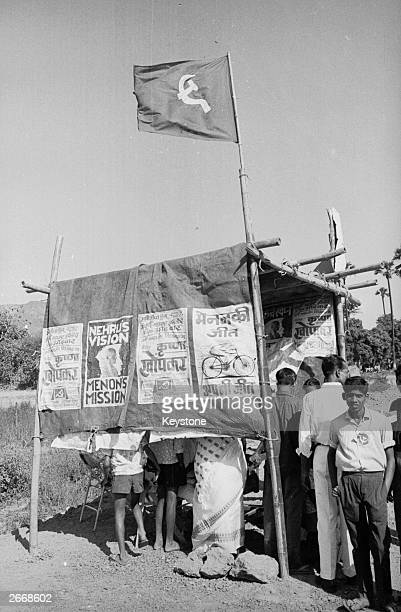 A polling booth covered with posters during elections in India