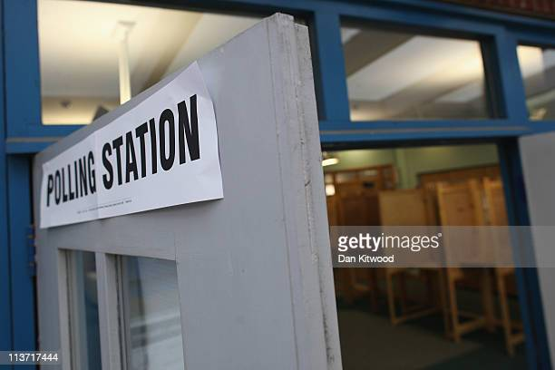 Polling booths stand empty at the Somers Children and Family Centre Polling Station in Stoke Newington on May 5 2011 in London England Polls have...