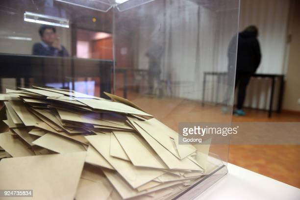 Polling both in France Ballot box France