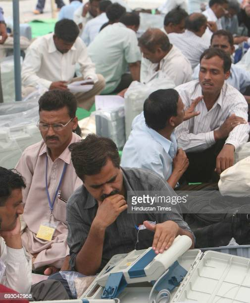 Polling Officers Checks Their Electronic Voting Machines In Bareilly On Monday 57 Constituancies Will Be Polling For The 3rd Phase Of Uttar Pradesh...