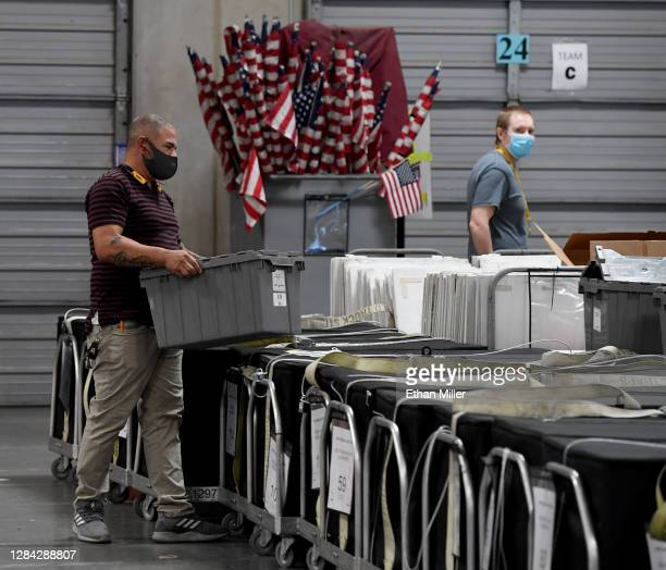 Polling place equipment and materials are processed at the Clark County Election Department on November 6, 2020 in North Las Vegas, Nevada. Joe...