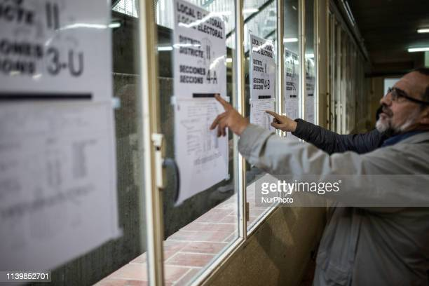 Polling station in La Eixample distric in Girona Spain on April 28 2019 Spaniards went to the polls today to vote for 350 members of the parliament...