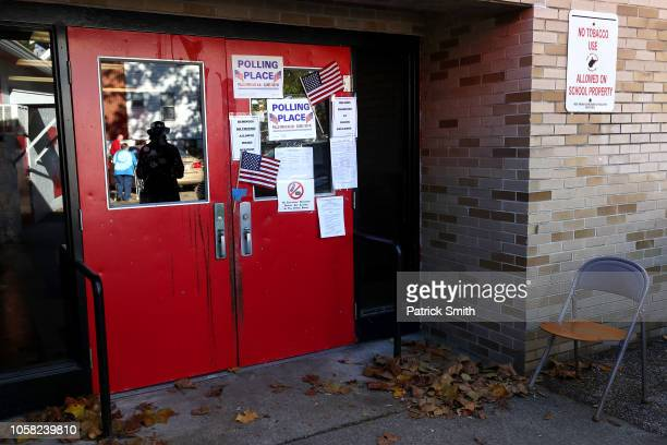 A polling station is seen on Election Day at Stonewall Jackson Middle School on November 6 2018 in Charleston West Virginia West Virginia Republican...