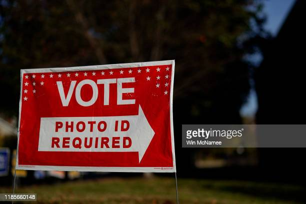 A polling station is shown at Nottingham Elementary School November 5 2019 in Arlington Virginia All 140 seats in the General Assembly are on the...